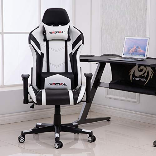 Hironpal Gaming Chair Home Office PC Desk Computer Racing Executive Chair, Ergonomic Swivel 180° Reclining Leather Chair Height Adjustable with Lumbar and Headrest Cushion 3D Armrest