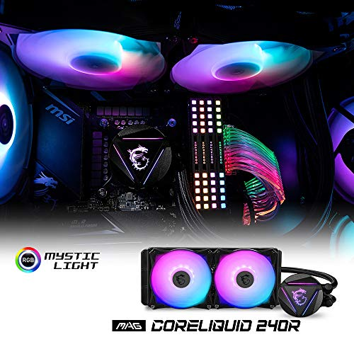 MSI MAG CORELIQUID 240R CPU AIO Cooler '240mm Radiator, 2X 120mm ARGB PWM Fan, Adjustable ARGB MSI Dragon CPU Mount, Compatible with Intel and AMD Platforms' Montana
