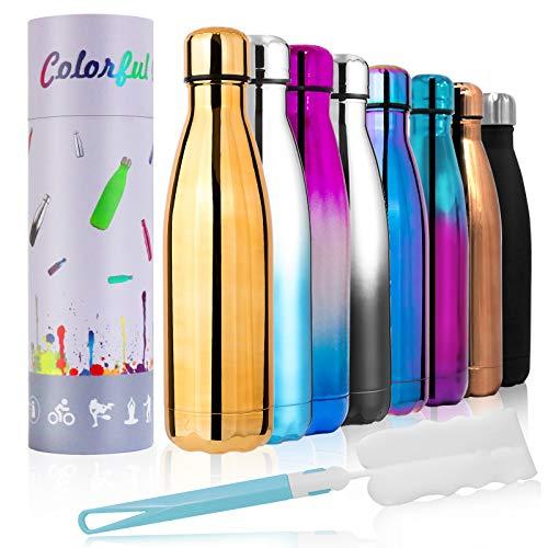 Botella de agua de doble pared aislada de 17 onzas, botella de acero inoxidable al vacío, 12 horas de calor/24 horas de frío, sin BPA, recargable