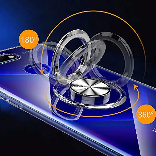 Kompatibel mit Honor View 20 Hülle 360 Grad-drehender Ring Kickstand Handyhülle KFZ-Halterung Schutzhülle Transparente Schale Magnetischem Weicher Hüllen Handytasche (1, Honor View 20) - 3