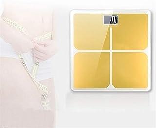 UYZ Báscula de baño Digital Profesional con báscula LCD de precisión con báscula de Pantalla LCD de Gran tamaño y tecnología Walk-in Duradera (Color Dorado)