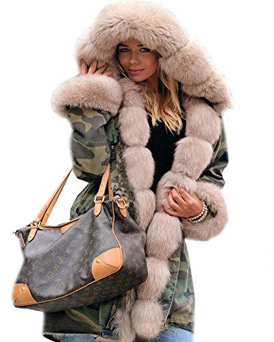 Roiii Damen Winter Mantel Camouflage Dicker Grauer Pelz Parka Langer Kapuzenmantel Jacke (S,Armee Beige)
