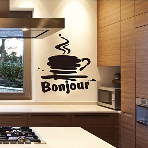 Franse eten sticker cafe cup vinyl wanddecoratie kunst verwisselbare behang keuken tegel sticker coffeeshop decoratie 55x75cm