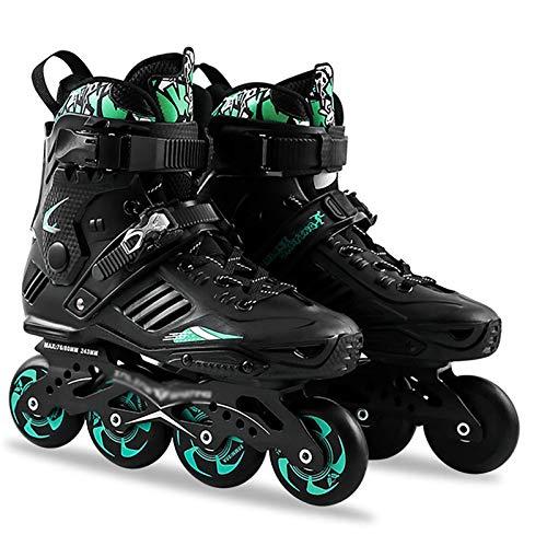 Inline-Skates, Roller Blades Erwachsene Männer Und Frauen Hochelastisches Profi-Eisschnelllauf, Schlittschuhe Verschleißfest Und rutschfest 35-44 Yards, Schwarzgrün, 42