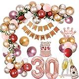 30 Decoraciones Cumpleaños Mujeres, Oro Rosa Pancarta de Happy Birthday,Globos Cumpleaños,Número 30 Globos,Corona Copa Vino Botella Vino Globo Aluminio para Decoración de Fiesta Cumpleaños de 30 Años
