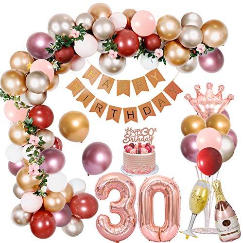 PrettyGift Decorazioni per Il 30 ° Compleanno per Le Donne, Palloncini Argento Oro Rosa Metallizzato con Striscione di Compleanno Palloncini Rossi Melograno Palloncini in stagnola Cake Topper per