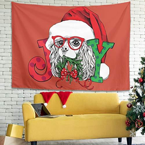 O2ECH-8 Christmas Animal Happy Theme Tapisserie romantisch Exklusiv Picknickdecke - für Mitarbeiter Present White 59 * 51
