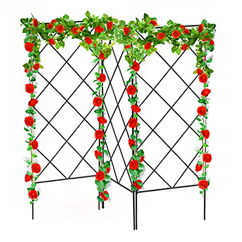 ANSET 3 PCS Plant Climbing Support Frame, Multifunctional Foldable Connectable Trellis Pillar Vertical Climbing Plants Rustproof DIY Plant Support Gardening Frame For Outdoor Decoration Bracket