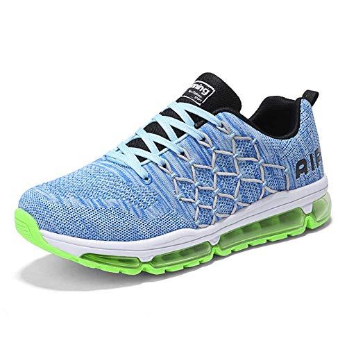 frysen Herren Damen Sportschuhe Laufschuhe mit Luftpolster Turnschuhe Profilsohle Sneakers Leichte Schuhe 1643 Blue 39