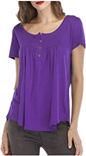 Padaleks Women's Shirt Casual Button Down Short Sleeve Pleated Tunic Tops Loose Fit Blouse Pullover Sweatshirt