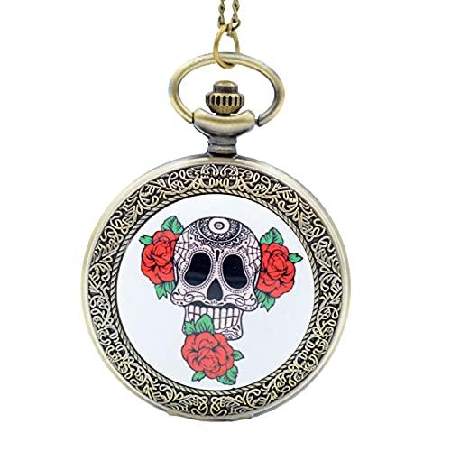 Retro Bronce Cráneo Tres Cártamo Cúpula Cuarzo Reloj de Bolsillo Analógico Colgante Collar Hombres Mujeres Relojes Cadena Regalo Montre Montre