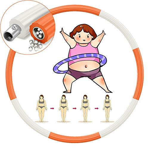 TvvaaFog Verbesserte Version Hula Reifen Hoop für Erwachsene& Kinder, 8 abnehmbare Teile,Stabiler Edelstahlkern Hoop zur Gewichtsreduktion und Massage, Gewichteter Reifen 1,2 kg