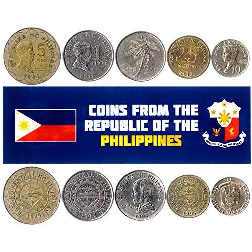Hobby of Kings Different Coins - Old, Collectible Philippine Foreign Currency for Collecting Book - Unique, Commemorative World Money Sets - Gifts for Collectors - Collection of 5