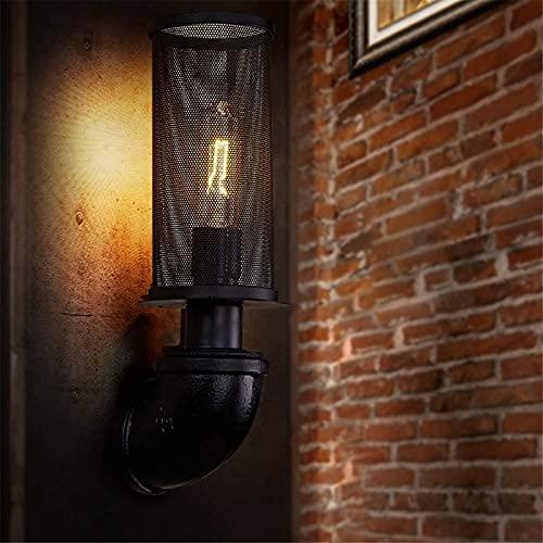 ZJJZ Vela Apliques de Pared Industrial Vintage Lámpara de Pared Ángulo rústico Alambre de Metal Jaula de Hierro Lámpara de Pared Apliques Retro Accesorio de iluminación Interior para cafetería Ba