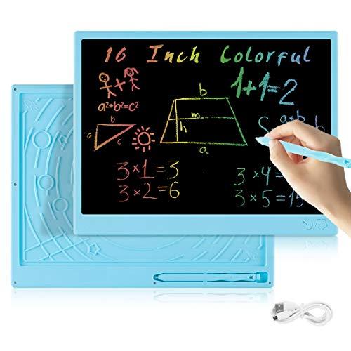 bhdlovely 16 Pollici LCD Scrittura Tablet,con disegno aritmetico ricaricabile USB e lavagna a colori per bambini Ragazzi Ragazze Bambini-Blu