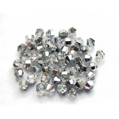 Charming Beads Pacco 75+ Argento/Chiaro Cristallo Ceco 4mm Bicono Sfaccettato Perline GB8657-2