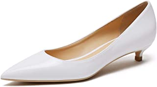 CAMSSOO Women's Comfor Classic Slip On Pointed Toe Dress Shoes Low Heel Pump Wedding Shoe