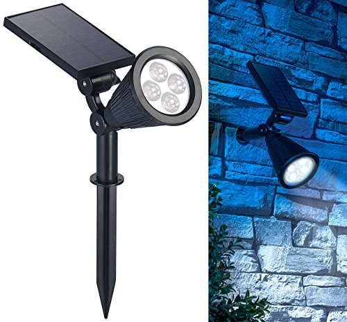 Luminea LED Gartenstrahler Solar: Solar-LED-Spot mit Erdspieß für Garten & Co, 200 Lumen, 1,5 Watt, IP44 (Solar Gartenstrahler mit Erdspieß)
