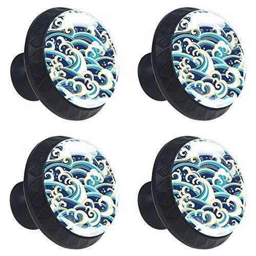 4 tiradores redondos de cristal transparente para cajones de armario, pomos con tornillos para cocina, aparador, armario, baño, armario, olas orientales, color azul y blanco