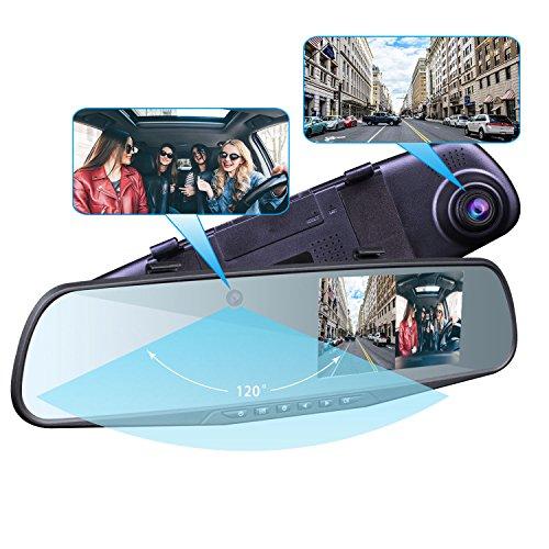 Provision-ISR Hidden Dual Dash Cam, Best Rear View Mirror Camera for...