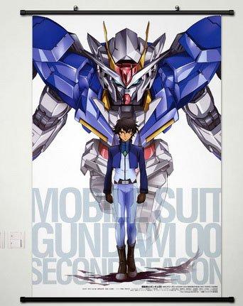 Wall Scroll Poster Fabric Painting For Anime Mobile Suit Gundam 00 Setsuna F Seiei & 00 Gundam 003 L