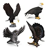 Simulated Bald Eagle Owl Model Realistic Bird Figurines Plastic Eagle Action Figure for Collection, Set of 4