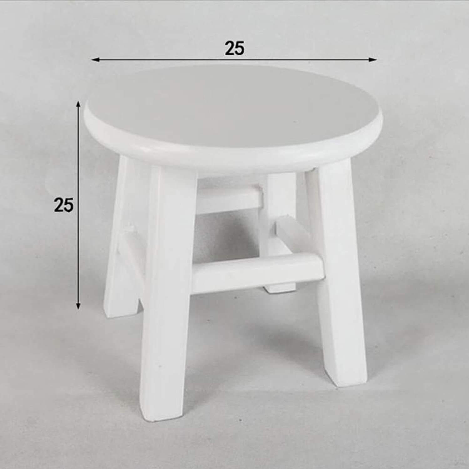 Stools Footstool Work Stool Step Stool Solid Wood Bold Reinforce Small Round Bench Household Tea Sit Change shoes Short CONGMING (color   White)