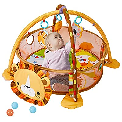 LATINKIS Baby Play Mat - 3 in 1 Baby Play Gym with 4 Hanging Toys & 30 Balls - Educational Baby Activity Mat & Ball Pit- Baby Playmat for Tummy Time - Gift for 0-3-6-9-24 Months Baby Boys and Girls
