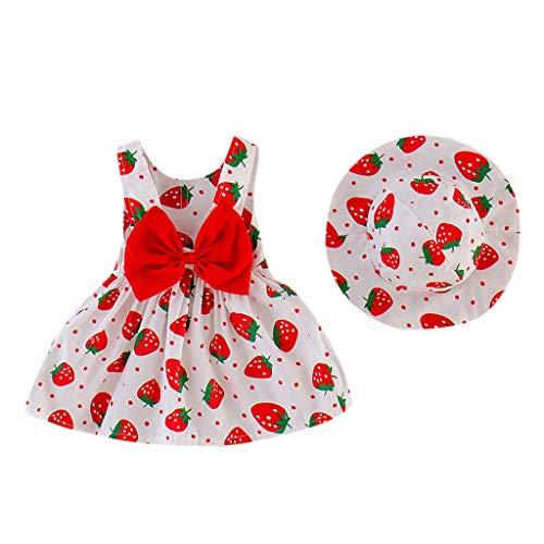 MRULIC Kinder MäDchen Kleid ÄRmellos Erdbeere Drucken Sommer SüSse Prinzessin Kleider Hut Bekleidungssets Outfits Geburtstag Geschenk Festzug Taufkleid Hochzeit(rot,18-24 Monate)