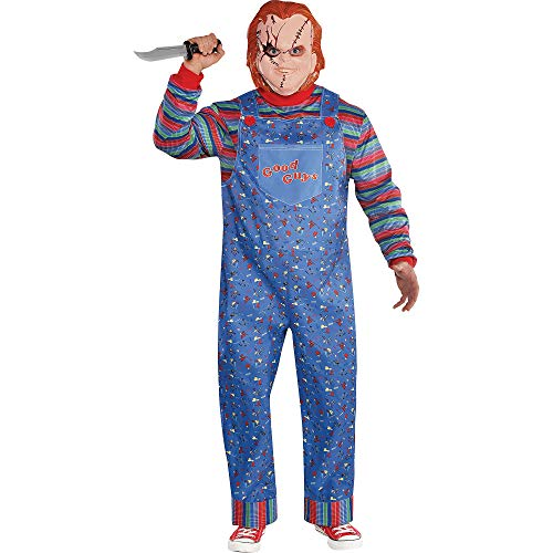 Party City Chucky Halloween Costume for Men, Child's Play, Plus Size, Includes Jumpsuit and Mask