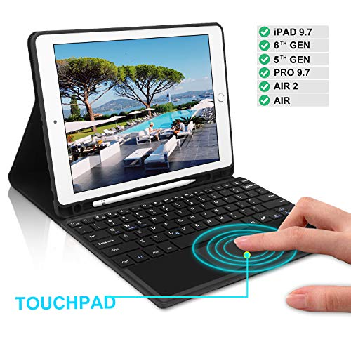 Keyboard Case 9.7 inch Touchpad Bluetooth with Pencil Holder Compatible with iPad 2018 6th Gen,iPad Pro 2017 5th Gen, iPad Pro 9.7, iPad Air 2&1, iPad Air Case with Touchpad Keyboard, Black