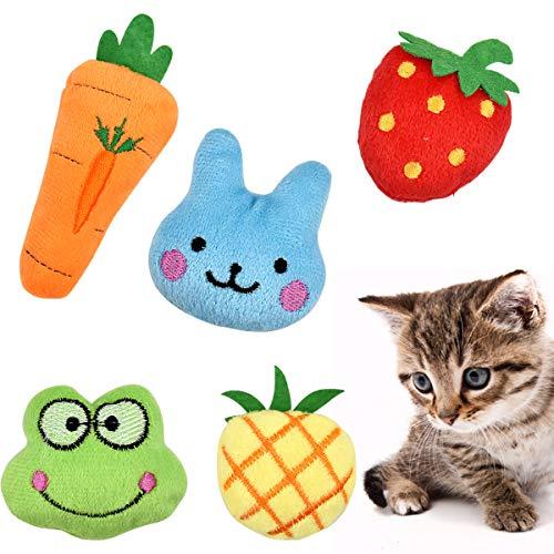 Fodlon Juguete Hierba Gatera, 5 Piezas Juguetes del Catnip Almohada Gato Juguetes Interactivos Mascota Chew Bite Suministros Limpieza Dental para Gato, Gatito