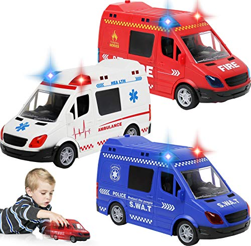 TeganPlay Set of 3 Toy Vehicles Police Car Ambulance and Fire Truck for Kids