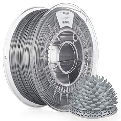 Midori PLA Filament | 10 Stück, 1,75mm 3D-Drucker-Filament 1kg Spule in Silber | Verwicklungsfreies Filament für 3D-Drucker & Stift