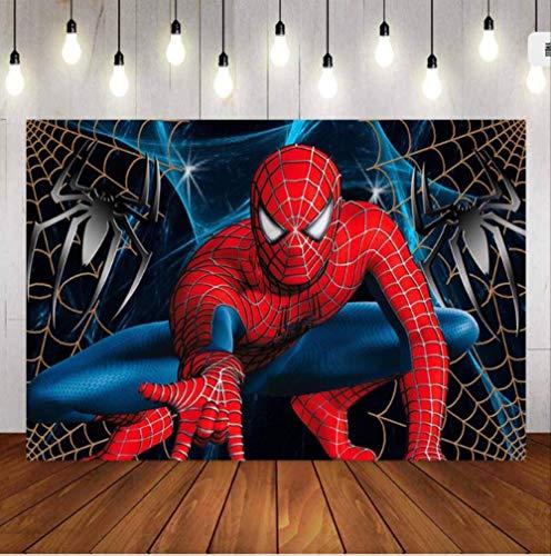 N/ A Spiderman Photographie Toile De Fond Superman Garçon Enfants Fête d'anniversaire Fond Bannière Photo Studio Toile De Fond Photo Prop 130 * 150cm B
