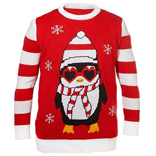 Cepewa Ugly Sweater Weihnachtspullover Strickpullover (L/XL, Cool Pingu)