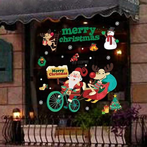 Pegatinas de Navidad para ventana, Pegatinas de pared de Navidad, 50x70 CM Suministros de Navidad Pegatinas de ventana electrostáticas para ventana Decoración navideña Pegatinas de vidrio creativas