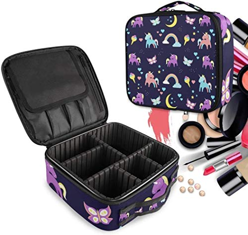 Cosmétique HZYDD Arc-en-Unicorn Make Up Bag Trousse de Toilette Zipper Sacs de Maquillage Organisateur Poche for Compartiment Femmes Filles Gratuit