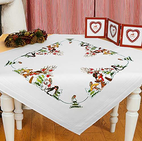 Kamaca Stickpackung Tischdecke Freunde IM Winter Spannstich Stielstich Nadelmalerei vorgezeichnet aus Baumwolle zum Selbersticken (Mitteldecke 80x80 cm)
