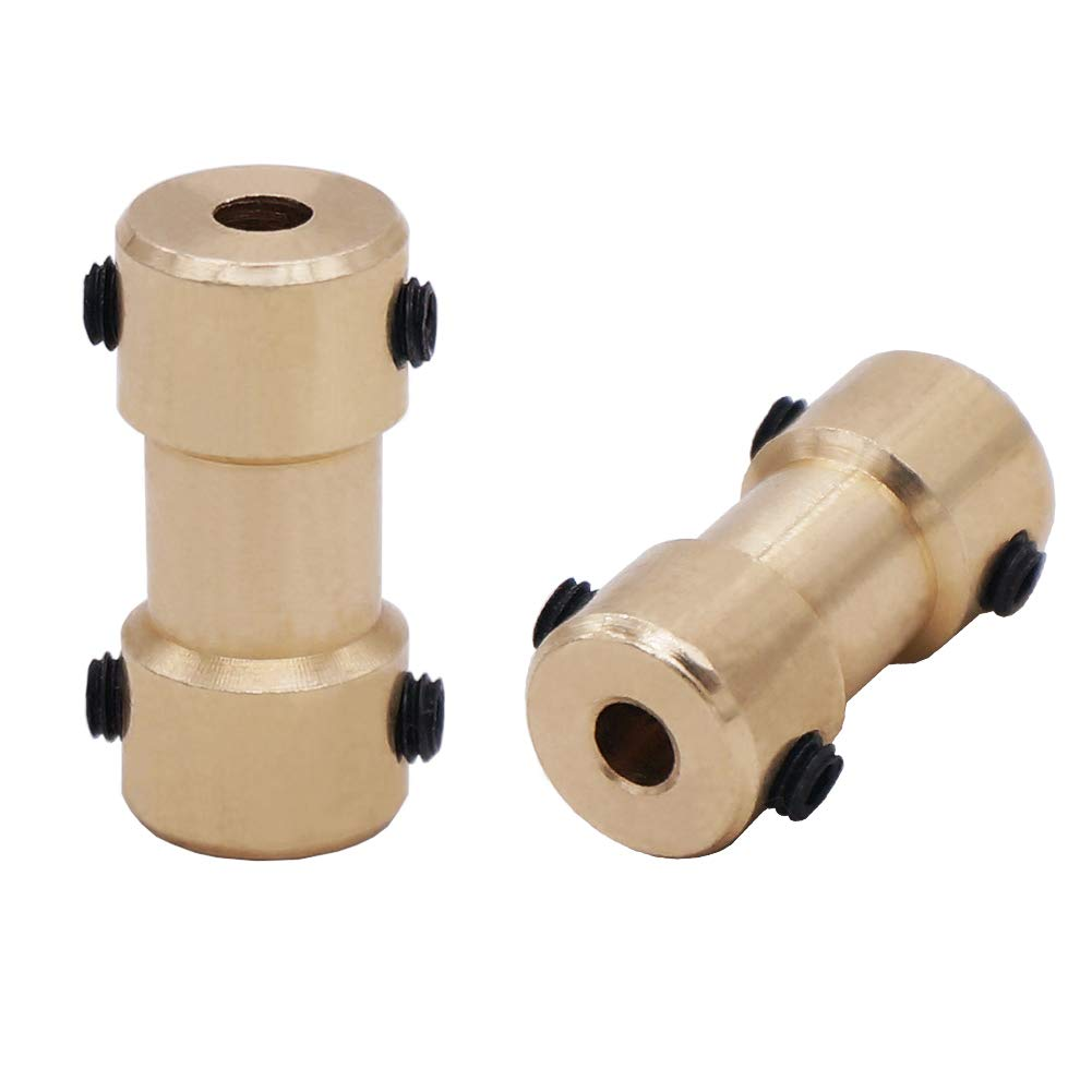 Twidec//4Pcs 2mm-2mm Brass Flexible Shaft Coupler for RC Airplane Boat Motor Transmission Connector COUPLER-GLD-2-2