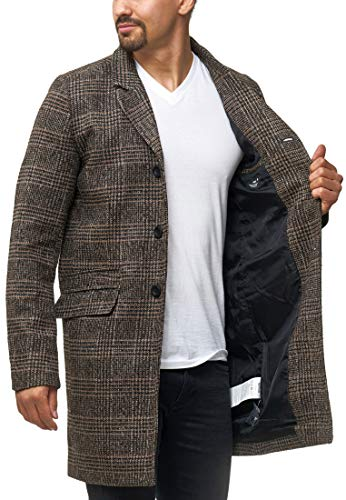 cappotto uomo a quadri Indicode Uomo Ilchester Cappotto in Lana con Colletto Alto A Tinta Unita