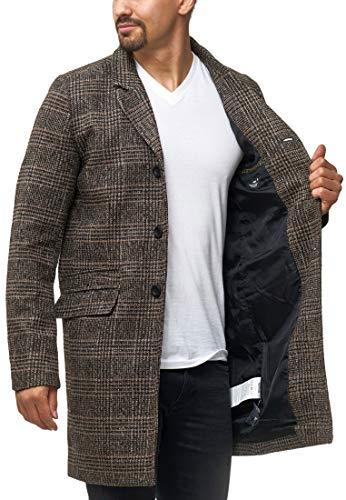 Indicode Herren Ilchester Wollmantel mit Stehkragen einfarbig, melliert oder im Tweed Karo-Muster | Herrenmantel Wintermantel Lange Übergangsjacke Winterjacke Mantel für Männer Rubber XXL