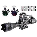 Pinty 4-in-1 4-16x50 EG Tactical Rifle Scope Kit, Dot Laser, Optics Red