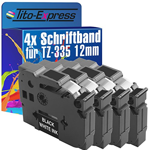 Tito-Express Platinum Series 4 Cassette a nastro compatibile con Brother TZ-335 TZe-335 12mm P-Touch 2450 DX 2460 2470 2480 2500 PC 2700 2730 VP 300 SP 310 CC 340 C 240 250 2600 540 C