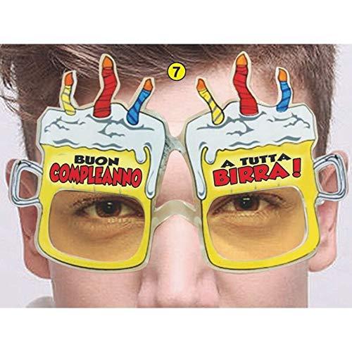 Occhiali Party Buon Compleanno - Occhiali Birra Buon Compleanno - Gadget scherzoso per Compleanno Generico