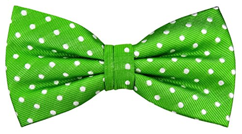Designer Nœud papillon soie vert fluorescent argent blanc à pois - Nœud papillon soie silk