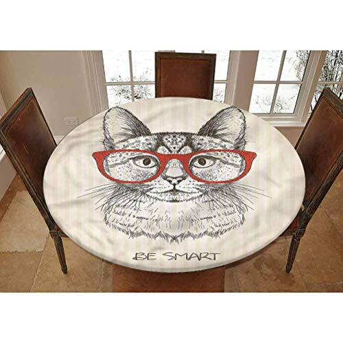LCGGDB Hipster Elastic Edged Polyester Fitted Tablecolth -Cat with Retro Glasses- Small Round Fitted Table Cover - Fits Tables up to 40-44' Diameter,The Ultimate Protection for Your Table