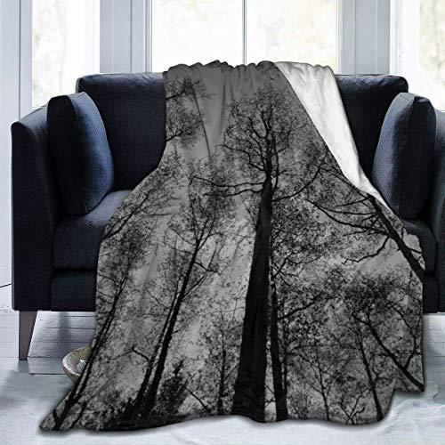 Manta de Lana, Tiro de árboles Blancos y Negros, Manta Suave y cálida, Manta de Microfibra de Felpa Unisex para sofá Cama