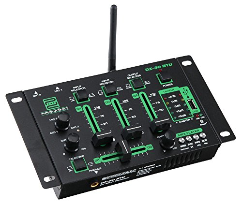 Pronomic DX-30BTU 3-Kanal USB DJ-Mixer (eingebauter USB-MP3-Bluetooth-Player, 3-Kanäle, Mikrofonanschluss, robust, mit Cinch-Kabel)