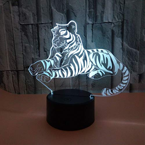 YLSE-night light Lampe Tiger 3D Nachtlicht Optische TäUschung Acryl Panel Sieben Farben Abs Basis USB Datenkabel Touch Fernbedienung Geschenk Kinder Spielzeug GIF